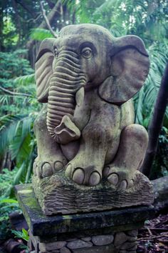 Elephant statue in Ubud's famous Sacred Monkey Forest - Bali, Indonesia
