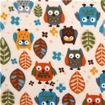 beige designer owl fabric small owl leaf USA