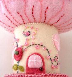 A Candy Pink Mushroom Felt Fairy Home from one author's journey with fantasy felt sewing.