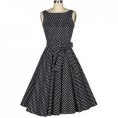 $36.62 Vintage Boat Neck Polka Dot Print Bow Sleeveless Rockabilly Dress For Women