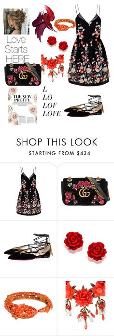 """""""Wishing on a Wedding"""" by laineyhans ❤ liked on Polyvore featuring The 2nd Skin Co., Gucci, Christian Louboutin and Roberto Cavalli"""