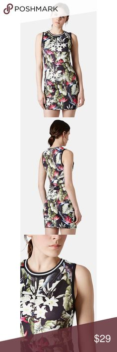 Topshop Bodycon Dress Topshop tropical island print bodycon dress US size 2.  In good condition.  No trades.  {closet5} Topshop Dresses