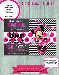 Minnie Mouse Personalized birthday invitation by EmmaSueBowtique