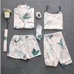 286a67387 Fdfklak Autumn 2018 New 7 Pcs Sleepwear Summer Pyjamas Women Pajamas Set  Pijama Sexy Silk Floral Sleep Clothing Home Clothes