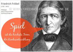 Poster mit einem Zitat/Spruch von Friedrich Fröbel zum Spiel. Gehört zu einer Serie mit Zitaten zum Spiel des Kindes.