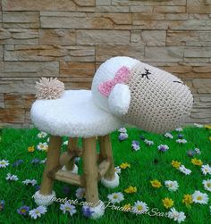 Home sheep decorationcrochet sheepsheep stool by CrochetTreasury