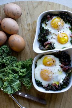 Kale Baked Eggs And Pancetta