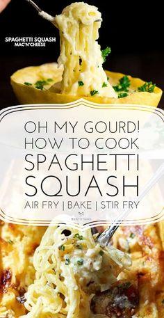 Spaghetti Squash Mac'n'Cheese Four Cheese Spaghetti Squash, Best Spaghetti Squash Recipes, Cooking Spaghetti Squash, Squash Fritters, Pasta Substitute, Air Fryer Dinner Recipes, Air Fryer Healthy, Healthy Recipes, Healthy Foods