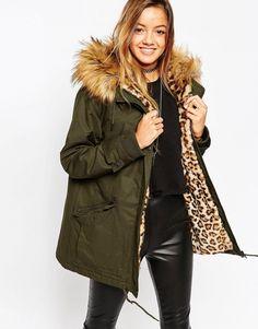 Bellfield Longline Dip Hem Parka Jacket With Faux Fur Hood BLACK