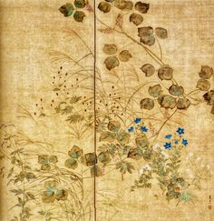 SUZUKI Kiitsu(鈴木其一 Japanese, 1796-1858). Two-panel Japanese folding screen. Rinpa School. Nineteenth century.