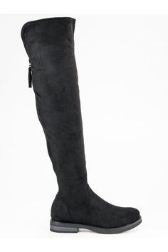 Čierne čižmy nad koleno s ozdobným lemom CnB Riding Boots, Knee Boots, Modeling, Platform, Shoes, Fashion, Wedge, Zapatos, Moda
