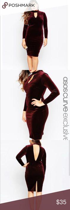 Burgundy Velvet plunge dress Very sleek BRAND NEW TAG ON !! Can fit curvy 14-18 ASOS Curve Dresses Midi