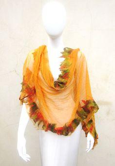 Nuno Felt Cotton Muslin Tangerine Wrap Scarf by juliaheartfelt, $69.00