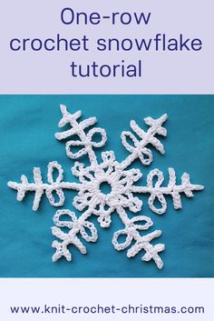 I-row crochet snowflake videotutorial. Easy crochet pattern to learn and make for Christmas.