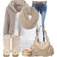 Warmth for the winter,sand ugg boot. Get rid of that purse and bracelet and im sold!