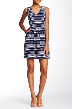 Double-V Stripe Fit & Flare Dress