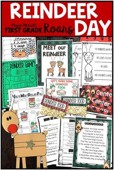 Reindeer Day Activities Reindeer Day is the perfect activity pack for the month of December There are comprehension activities for any reindeer book an original reindeer poem and Poetry Activities, Word Work Activities, Christmas Activities, Kindergarten Activities, Craft Activities, Reading Activities, Indoor Activities, Winter Activities, Reindeer Craft
