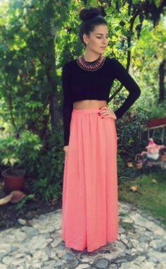 Peach skirt ~ Maxi Skirt :) With long-sleeve top ~ Black ;) Necklace❤