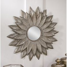The startling design of the Tripar Sunflower Wall Mirror radiates out from the central mirror to greet guests with a confident glow. The ornate design. Wall Mirrors Entryway, White Wall Mirrors, Rustic Wall Mirrors, Round Wall Mirror, Wall Mounted Mirror, Foyer, Starburst Mirror, Mirror Bathroom, Traditional Wall Mirrors
