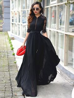Floor-Length Lace High-Waist Half Sleeve Plain European V-Neck Patchwork Dress Half Sleeve Dresses, Maxi Dress With Sleeves, Elegant Dresses, Pretty Dresses, Winter Outfits, Mode Hijab, Couture Fashion, Dress Outfits, Vintage Fashion