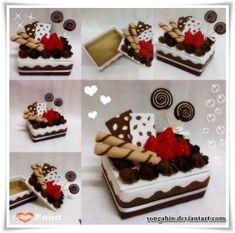 This is the handmade felt cake box i did. ^_^ My Trial Cake Box. Felt Cake, Felt Cupcakes, Food Crafts, Diy And Crafts, Diy Food, Felt Diy, Handmade Felt, Chocolate Mocha Cake, Felt Play Food