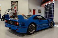 A Ferrari F40 finished in an exclusive blue color, with the Tricolore stripe, is offered for sale at a price of just over $1.2 million.