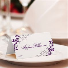 Place Card Template   Exquisite Vines (Purple & Silver)
