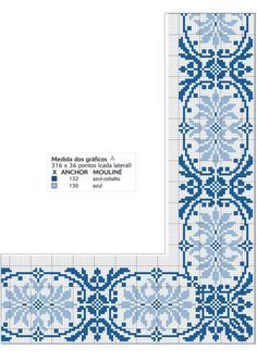 This Pin was discovered by Eve Embroidery Sampler, Cross Stitch Embroidery, Blackwork, Blue Cross, Cross Stitch Borders, Blue Tiles, White Crosses, Filet Crochet, Needlepoint