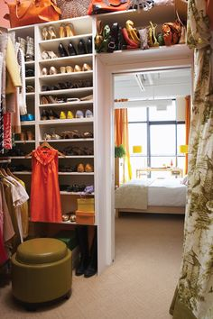 CLOSET: walk through closet example....LOVE the idea of putting stuff you dont use often on top of the door!