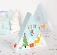 Free Printable Christmas Triangle Gift Box
