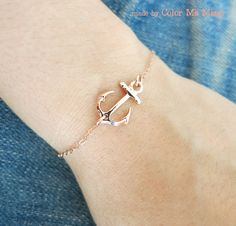 Lucky Rose Gold Anchor bracelet - simple rose gold filled bracelet with Anchor, best friends, sisters, mum, navy, sea, teacher, www.colormemissy.com