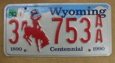 1990 Wyoming  Centennial License Plate 3 753AA