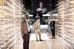 Still of Johnny Depp, Morgan Freeman, Rebecca Hall and Cillian Murphy in Transcendence (2014)