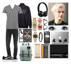 """""""Diary of a wimpy kid oc"""" by gglloyd ❤ liked on Polyvore featuring 7 For All Mankind, D&G, Vans, Beats by Dr. Dre, Tom Ford, WALL, Caran D'Ache, Kate Spade, Rolex and men's fashion"""