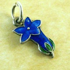 Vintage German Silver Charm Art Deco Enamel Blue GENTIAN Garden FLOWER  #Unbranded
