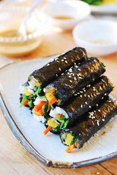 Mayak Gimbap (mini seaweed rice rolls) - Korean Bapsang Addictive mini gimbap (Korean seaweed rice rolls) with a mustard and sesame sauce Indian Food Recipes, Asian Recipes, Beef Recipes, Cooking Recipes, Healthy Recipes, Vegetarian Recipes Korean, Healthy Food, Korean Drinks Recipe, Vegan Korean Food