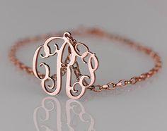 Rose Monogram Bracelet 06 inch 18k Rose by PersonalizedNecklace, $41.95