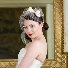 1950's tealength dress wedding hair | Lily Bella Couture Poppy Ivory Birdcage Veil with Bow Detail