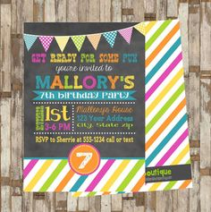 Printable Chalk Birthday Invitation DoubleSided by MaryBobbinsBoutique $8