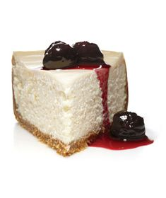 classic cheese cake with cherry syrup.  I made this, it is so delicious and fairly easy for a cheesecake! i made the syrup recipe with frozen raspberries instead of cherries and it was to die for!