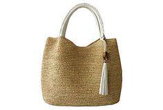 Raffia Hobo Bag, White/Tan
