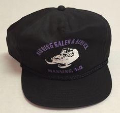 14108f02fa0 Vtg Manning Sales And Service Snapback Hat North Dakota ND Snowmobile Black   SanSun  BaseballCap