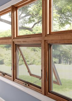 Wood windows are the top choice for a rustic modern look. Using Essence Series Awning windows Wood Windows, Casement Windows, Windows And Doors, Patio Windows, Crank Windows, Door And Window Design, Door Design, House Design, House Awnings