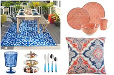 Outdoor Dining Must-Haves for Summer from Wayfair Coral and Blue garden decor Garden Oasis, Blue Garden, Outdoor Dining, Water Features, Baby Shower Themes, Modern Lighting, Baby Showers, Tea Party, Coral
