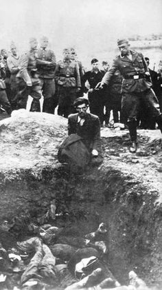 """This was found in the personal album of an Einsatzgruppen soldier. It was labelled on the back """"The last Jew of Vinnitsa"""". All 28,000 of the Jews living there were killed at the time."""