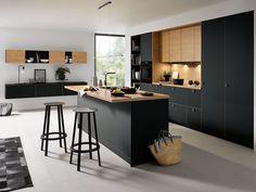 Black Kitchens - Schuller by Artisan Interiors Black Kitchen Cabinets, Kitchen Cabinet Remodel, Black Kitchens, Home Kitchens, Kitchen Black, Kitchen Room Design, Modern Kitchen Design, Interior Design Kitchen, Kitchen Decor