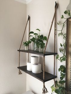 Perfect storage solution. One shelf for my plants and one for toilet paper:)