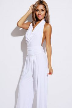 bright white slinky draped backless halter evening clubbing jumpsuit