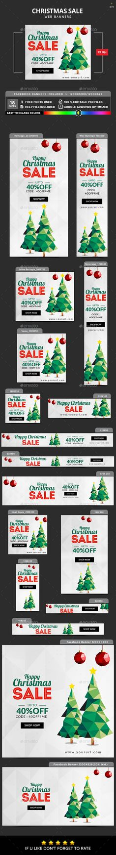 Christmas Sale Banner Set - Banners & Ads Web Elements Promote your Products and services with this great looking Banner Set. 18 awesome quality banner template PSD files, including Facebook ad sizes, ready for your Services, products, campaigns.Each PSD files are layered and fully organized. You can use this banners for google adwords & Adroll too. ( All google adwords, Adroll banner sizes included