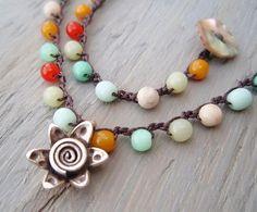 Crochet necklace ' Sol Fiesta ' multi colored glass by slashKnots, $55.00